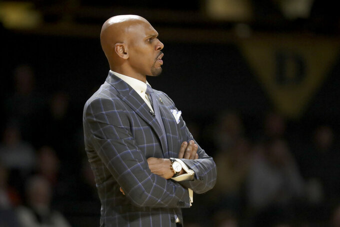 Vanderbilt coach Jerry Stackhouse watches during the first half of the team's NCAA college basketball game against LSU on Wednesday, Feb. 5, 2020, in Nashville, Tenn. Vanderbilt upset LSU, 99-90. (AP Photo/Mark Humphrey)