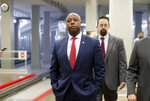 Sen. Tim Scott, R-S.C., arrives for a vote on Gina Haspel to be CIA director, on Capitol Hill, Thursday, May 17, 2018 in Washington. The Senate confirmed Haspel as the first female director of the CIA following a difficult nomination process that reopened an emotional debate about brutal interrogation techniques in one of the darkest chapters in the spy agency's history. (AP Photo/Alex Brandon)
