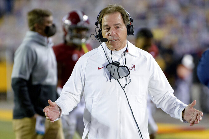 Alabama coach Nick Saban speaks after his team's victory against LSU in an NCAA college football game in Baton Rouge, La., Saturday, Dec. 5, 2020. (AP Photo/Matthew Hinton)