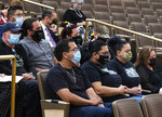 Family members of Jorge Gomez attend a public fact-finding review for the fatal officer involved shooting of Gomez at the Clark County Government Center, on Friday, April 16, 2021, in Las Vegas. (Bizuayehu Tesfaye/Las Vegas Review-Journal via AP)