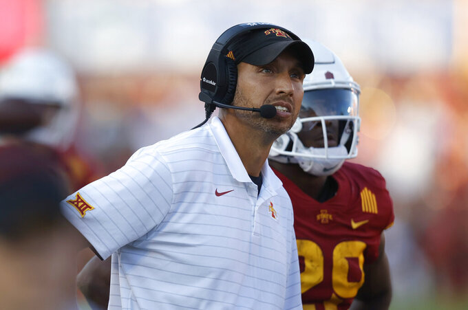 Iowa State head coach Matt Campbell looks to the scoreboard during the second half of an NCAA college football game against Northern Iowa, Saturday, Sept. 4, 2021, in Ames, Iowa. Iowa State won 16-10. (AP Photo/Matthew Putney)