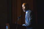 Bronx Borough President Ruben Diaz delivers remarks at the swearing-in ceremony and inaugural address of Rep. Alexandria Ocasio-Cortez at the Renaissance School for Musical Theater and Technology in the Bronx borough of New York on Saturday, Feb. 16, 2019. (AP Photo/Kevin Hagen)