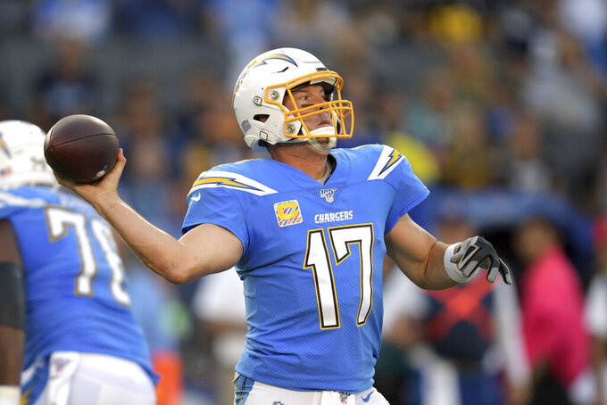 Los Angeles Chargers quarterback Philip Rivers passes during the first half of an NFL football game against the Pittsburgh Steelers, Sunday, Oct. 13, 2019, in Carson, Calif. (AP Photo/Kyusung Gong)