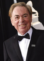 """FILE - Composer Andrew Lloyd Webber arrives at the 60th annual Grammy Awards in New York on Jan. 28, 2018. A key prop from the smash musical """"The Phantom of the Opera,"""" will be auctioned, along with other celebrity-donated items on April 28. (Photo by Evan Agostini/Invision/AP, File)"""