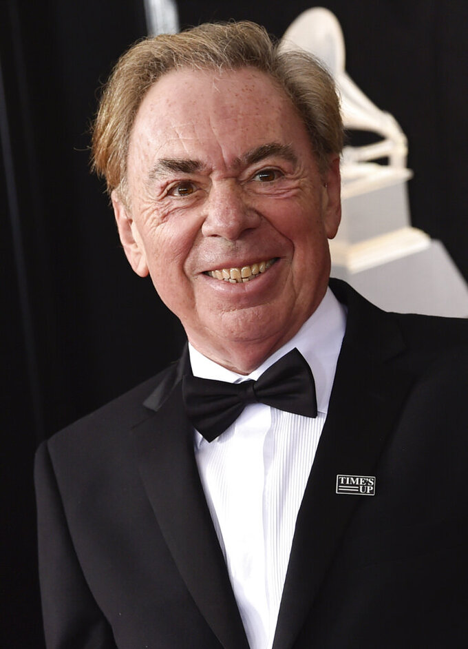 "FILE - Composer Andrew Lloyd Webber arrives at the 60th annual Grammy Awards in New York on Jan. 28, 2018. A key prop from the smash musical ""The Phantom of the Opera,"" will be auctioned, along with other celebrity-donated items on April 28. (Photo by Evan Agostini/Invision/AP, File)"