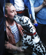 Prominent Russian investigative journalist Ivan Golunov, pets his dog as he leaves a Investigative Committee building in Moscow, Russia, Tuesday, June 11, 2019. In a surprising turnaround, Russia's police chief on Tuesday dropped all charges against a prominent investigative reporter whose detention sparked public outrage and promised to go after the police officers who tried to frame the journalist as a drug-dealer. (AP Photo/Alexander Zemlianichenko)