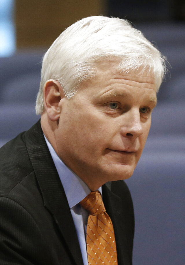 FILE - In this Feb. 25, 2016 file photo, Democrat House Minority Leader Paul Thissen listens listens as top lawmakers met with the media at the State Capitol in St. Paul, Minn. Minnesota Supreme Court Associate Justice Paul Thissen is facing voters for the first time since his appointment in 2018. Challenging him is frequent candidate Michelle MacDonald, who is making her fourth bid for a seat on a court that has disciplined her before over professional conduct, and could impose new restrictions on her law license. (AP Photo/Jim Mone)