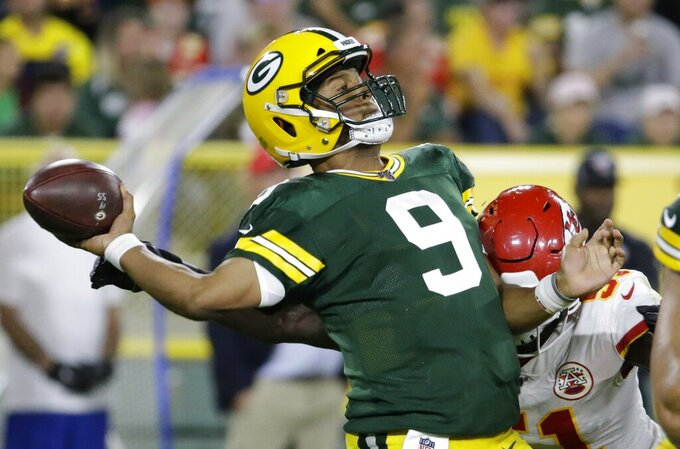 Green Bay Packers' DeShone Kizer throws during the second half of a preseason NFL football game against the Kansas City Chiefs Thursday, Aug. 29, 2019, in Green Bay, Wis. (AP Photo/Mike Roemer)