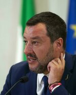 Italian Deputy-Premier and Interior Minister Matteo Salvini meets the media in Rome, Monday, July 15, 2019. The Italian premier's office on Sunday distanced itself from a lobbyist who is under investigation for allegedly seeking Russian money for Interior Minister Matteo Salvini's pro-Moscow League party, saying the man attended a recent dinner for visiting Russian President Vladimir Putin only because a Salvini adviser intervened on his behalf. (Maurizio Brambatti/ANSA via AP)