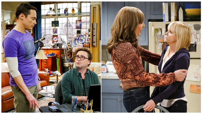 This combination of photos released by CBS shows, from left, Jim Parsons and Johnny Galecki in a scene from the comedy series