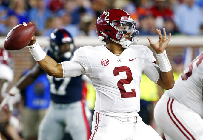 Alabama quarterback Jalen Hurts (2) passes against Mississippi during the first half of their NCAA college football game on Saturday, Sept. 15, 2018, in Oxford, Miss. (AP Photo/Rogelio V. Solis)