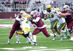 Southern Illinois running back Romeir Elliott (1) looks for running room next to North Dakota State free safety Dawson Weber (2) during the fourth quarter of an NCAA college football game Saturday, Feb. 29, 2021, in Carbondale, Ill. (Byron Hetzler/The Southern Illinoisan via AP)