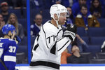 Los Angeles Kings center Jeff Carter (77) celebrates his goal against the Tampa Bay Lightning during the first period of an NHL hockey game Tuesday, Jan. 14, 2020, in Tampa, Fla. (AP Photo/Chris O'Meara)