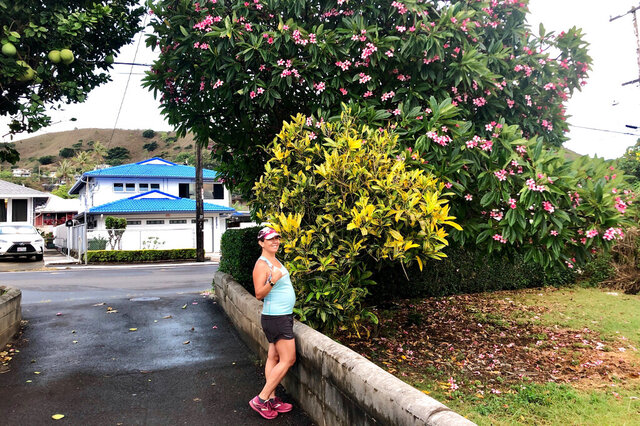 At five months pregnant, reporter Jennifer Kelleher sets out for a morning run in Honolulu on Friday, Aug. 28, 2020. (Courtesy of Jennifer Sinco Kelleher via AP)
