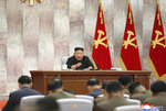 In this undated photo provided on Sunday, May 24, 2020, by the North Korean government, North Korean leader Kim Jong Un speaks during a meeting of the Seventh Central Military Commission of the Workers' Party of Korea, in North Korea. Independent journalists were not given access to cover the event depicted in this image distributed by the North Korean government. The content of this image is as provided and cannot be independently verified. (Korean Central News Agency/Korea News Service via AP)