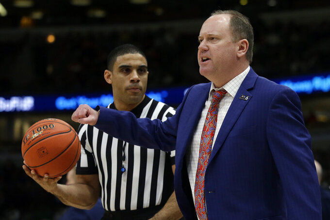 Wisconsin head coach Greg Gard argues a call during the first half of an NCAA college basketball game against Michigan State in the semifinals of the Big Ten Conference tournament, Saturday, March 16, 2019, in Chicago. (AP Photo/Kiichiro Sato)