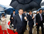 China's President Xi Jinping arrives at Kansai International Airport in Izumisano, Osaka prefecture, western Japan, Thursday, June 27, 2019. Group of 20 leaders gather in Osaka on June 28 and 29 for their annual summit.(Kyodo News via AP)
