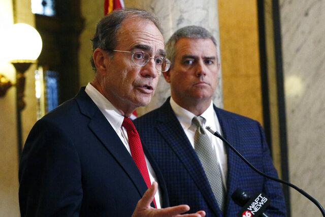 Lt. Gov. Delbert Hosemann, left, assures Mississippi citizens that