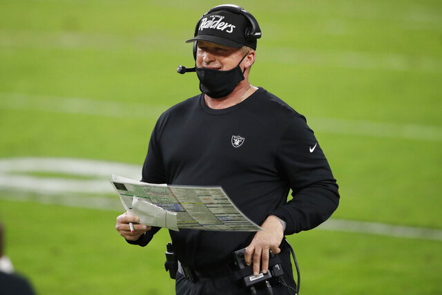 Las Vegas Raiders head coach Jon Gruden stands on the sidelines during the second half of an NFL football game against the Miami Dolphins, Saturday, Dec. 26, 2020, in Las Vegas. (AP Photo/Steve Marcus)