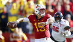 FILE - In this Oct. 27, 2018, file photo, Iowa State quarterback Brock Purdy looks to pass during the first half of an NCAA college football game against Texas Tech, in Ames, Iowa. Purdy had the best season by a true freshman quarterback in school history, posting a 7-2 record after taking over the starting job in early October. (AP Photo/Charlie Neibergall, File)