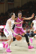 Oregon's Maite Cazorla, left, is guarded by Oregon State's Taya Corosdale, right, during the first half of an NCAA college basketball game in Corvallis, Ore., Monday, Feb. 18, 2019. (AP Photo/Amanda Loman)