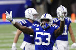 Indianapolis Colts' Darius Leonard (53) celebrates after forcing the Green Bay Packers to turn the ball over on down during the second half of an NFL football game, Sunday, Nov. 22, 2020, in Indianapolis. (AP Photo/AJ Mast)