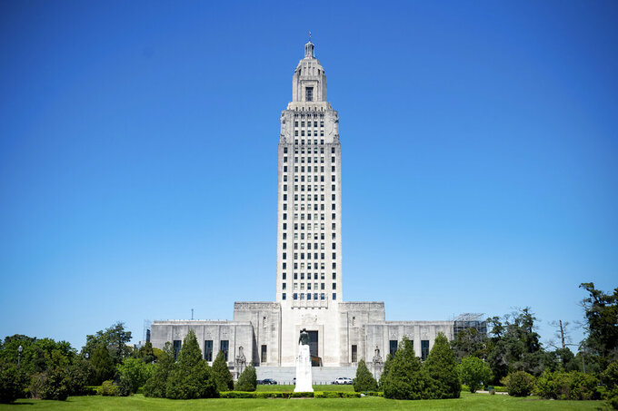 The Louisiana State Capitol in Baton Rouge, La. Thursday, April 8, 2021. (Scott Clause/The Daily Advertiser via AP)