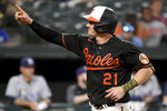 Baltimore Orioles' Austin Hays celebrates after hitting a solo home run against the Tampa Bay Rays in the third inning of a baseball game, Friday, Aug. 6, 2021, in Baltimore. (AP Photo/Will Newton)