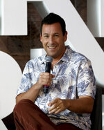 American actor Adam Sandler jokes during a press conference for the Netflix film 'Murder Mystery' in Mexico City, Thursday, June 13, 2019. (AP Photo/Cristina Baussan)