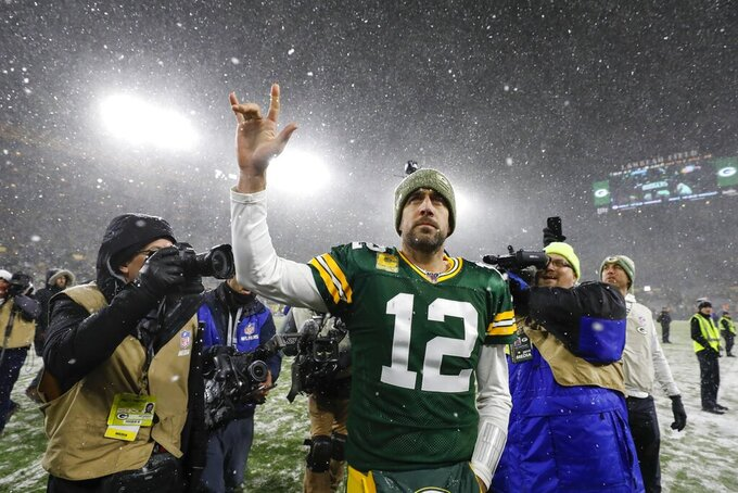 Green Bay Packers' Aaron Rodgers reacts after an NFL football game against the Carolina Panthers Sunday, Nov. 10, 2019, in Green Bay, Wis. The Packers won 24-16. (AP Photo/Jeffrey Phelps)