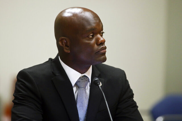 Rep. Kionne McGhee, D- Miami, listens Monday, Jan. 13, 2020, during a combined meeting of House Commerce, Education and Judiciary Committees to discuss equal treatment of student athletes at the Knott Building in Tallahassee, Fla. (AP Photo/Phil Sears)