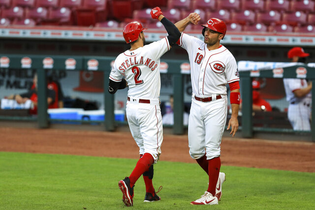 Cincinnati Reds' Nicholas Castellanos celebrates with Joey Votto (19) after hitting a grand slam in the fifth inning of the team's baseball game against the Chicago Cubs in Cincinnati, Wednesday, July 29, 2020. (AP Photo/Aaron Doster)
