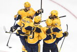 Nashville Predators celebrate a goal against the Arizona Coyotes during third period NHL qualifying round game action in Edmonton, on Sunday, Aug. 2, 2020. (Jason Franson/The Canadian Press via AP)