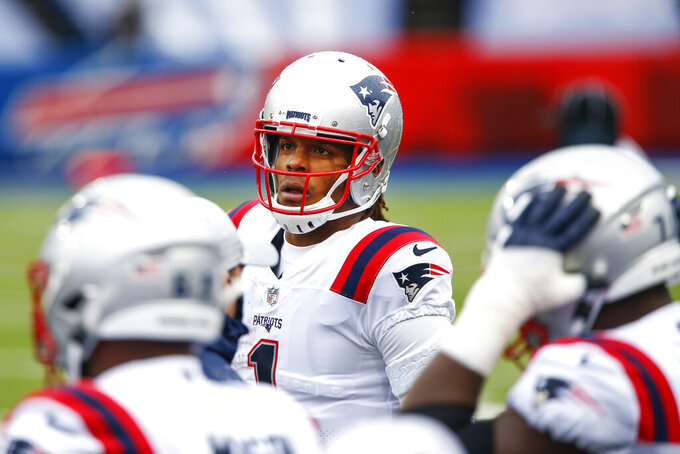 New England Patriots quarterback Cam Newton (1) walks the sidelines during the first half of an NFL football game against the Buffalo Bills Sunday, Nov. 1, 2020, in Orchard Park, N.Y. (AP Photo/John Munson)