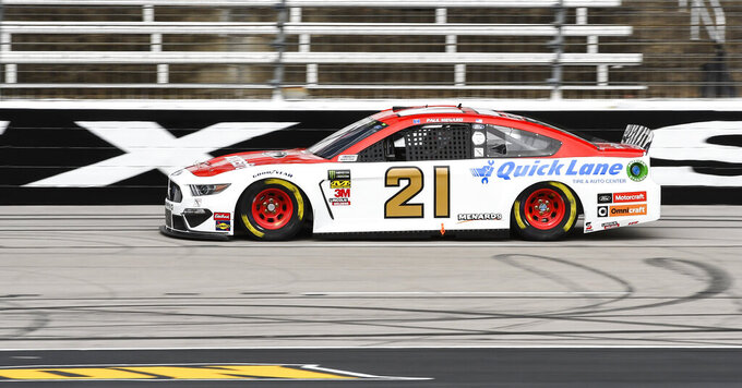 Driver Paul Menard races down the front stretch during practice for a NASCAR Cup auto race at Texas Motor Speedway, Saturday, March 30, 2019, in Fort Worth, Texas. (AP Photo/Larry Papke)