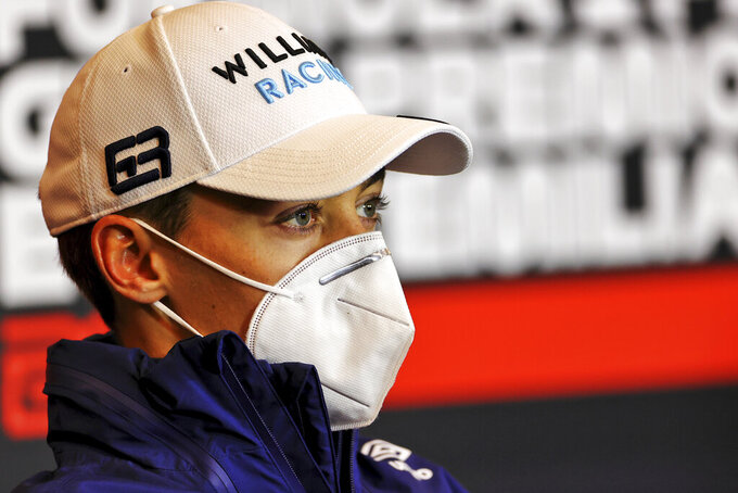 Williams driver George Russell of Britain attends a press conference ahead of Sunday's Emilia Romagna Formula One Grand Prix, at the Imola track, Italy, Friday, April 16, 2021. (Xpbimages/Pool via AP)
