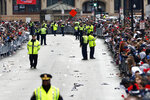 Fans line Tremont Street before the start of the New England Patriots parade through downtown Boston, Tuesday, Feb. 5, 2019, to celebrate their win over the Los Angeles Rams in Sunday's NFL Super Bowl 53 football game in Atlanta. (AP Photo/Michael Dwyer)