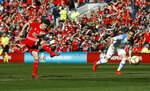 Wales' Daniel James scores against Slovakia during the Euro 2020 qualifying, Group E soccer match at the Cardiff City Stadium, Wales, Sunday March 24, 2019. (Darren Staples/PA via AP)