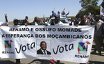 In this photo taken Tuesday, Sept. 10, 2019 opposition Renamo supporters attend an election rally in Maputo, Mozambique. The country's elections on Tuesday, Oct 15, 2019 are almost certain to return the ruling party, Frelimo, and President Filipe Nyusi, to power but it is unclear if the results will establish badly needed stability and economic growth. (AP Photo/Ferhat Momade)