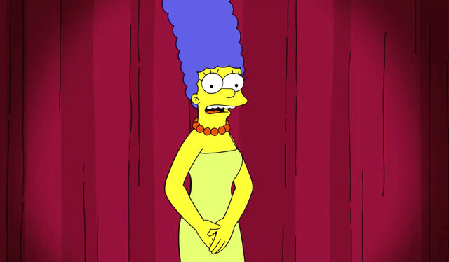 This image released by Fox shows Marge Simpson, a character on the animated television series