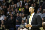 Michigan head coach Juwan Howard during the first half of an NCAA college basketball game, Saturday, Feb. 22, 2020, in West Lafayette, Ind. (Nikos Frazier/Journal & Courier via AP)
