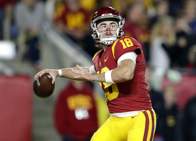 Southern California quarterback JT Daniels throws a pass during the first half of an NCAA college football game against Colorado on Saturday, Oct. 13, 2018, in Los Angeles. (AP Photo/Marcio Jose Sanchez)