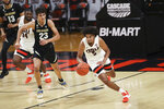 Oregon State's Ethan Thompson (5) drives upcourt during the second half of an NCAA college basketball game against Colorado in Corvallis, Ore., Saturday, Feb. 20, 2021. (AP Photo/Amanda Loman)