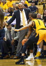 Missouri head coach Cuonzo Martin shout instructions to his team during the first half of an NCAA college basketball game against Vanderbilt Saturday, Feb. 2, 2019, in Columbia, Mo. (AP Photo/L.G. Patterson)