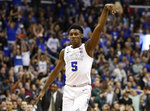 Duke forward RJ Barrett (5) reacts after scoring against Michigan State during the second half of an NCAA men's East Regional final college basketball game in Washington, Sunday, March 31, 2019. (AP Photo/Alex Brandon)
