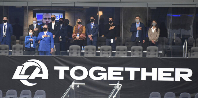 The Los Angeles Rams owners box during the National Anthem prior to a NFL football game against the Dallas Cowboys on opening night at SoFi Stadium in Inglewood on Sunday, September 13, 2020. (Keith Birmingham/The Orange County Register via AP)