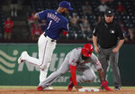 Los Angeles Angels Brian Goodwin is forced out at second base by Texas Rangers shortstop Elvis Andrus during the ninth inning of a baseball game Wednesday, Aug. 21, 2019, in Arlington, Texas. (AP Photo/Louis DeLuca)
