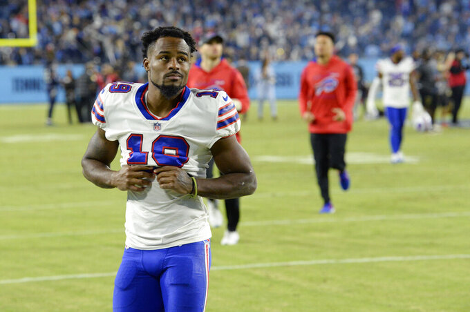 Buffalo Bills wide receiver Isaiah McKenzie leaves the field after an NFL football game against the Tennessee Titans Monday, Oct. 18, 2021, in Nashville, Tenn. The Titans won 34-31. (AP Photo/Mark Zaleski)