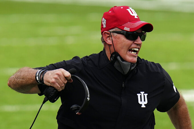 Indiana head coach Tom Allen screams at an official during the second half of the Outback Bowl NCAA college football game against Mississippi Saturday, Jan. 2, 2021, in Tampa, Fla. (AP Photo/Chris O'Meara)