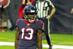 Houston Texans wide receiver Brandin Cooks (13) celebrates after catching a touchdown pass against the Tennessee Titans during the second half of an NFL football game Sunday, Jan. 3, 2021, in Houston. (AP Photo/Eric Christian Smith)